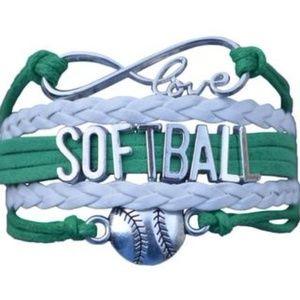 Girls Softball Bracelet - Green & White